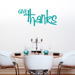 Give Thanks V Wall Quote Decal