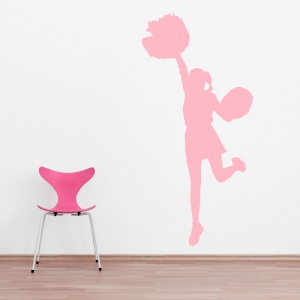 Cheerleader and Pom Poms Wall Decal