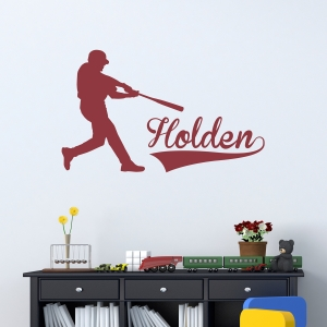 Baseball Batter Name Wall Art Decal