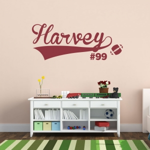 Football Name and Number Wall Art Decal