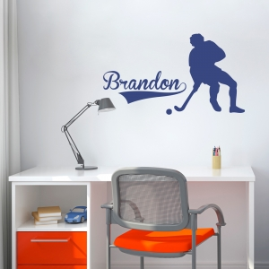 Hockey Player And Name Wall Art Decal