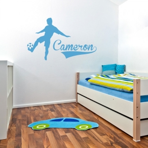Soccer Player And Name and Number Wall Art Decal