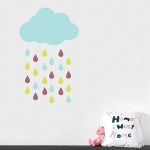 Rain cloud and drops wall decal