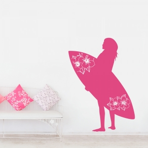 Surf Board Chick Wall Art Decal
