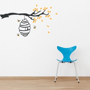 Buzzing Beehive Branch Wall Decal