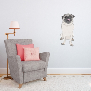 Silly Pug Printed Wall Decal