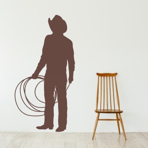 Roping Cowboy Wall Art Decal