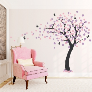 Cherry Blossom Tree wall decal with birdhouse