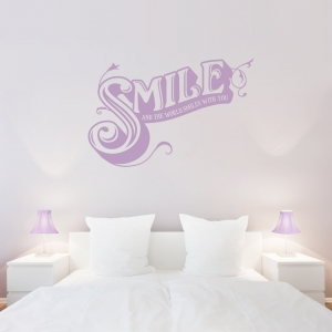 Smile And The World Smiles With You Wall Quote Decal