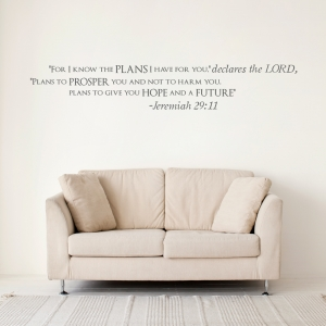 Jeremiah 29:11 Wall Quote Decal