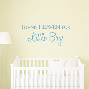 Thank Heaven For Little Boys Wall Quote Decal