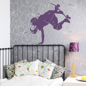 Female Skateboarder Wall Art Decal