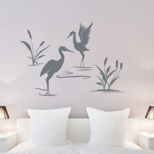 Cattails and Heron Art Decal