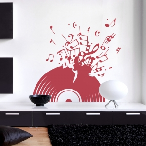 Exploding Record Wall Art Decal