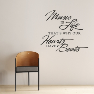 Music is Life Wall Quote Decal
