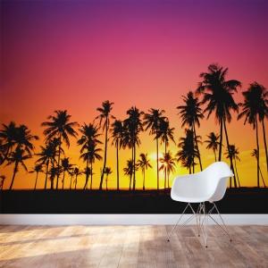 Palm Tree Sunset Wall Mural