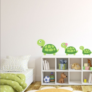 Turtle Family Printed Wall Decal