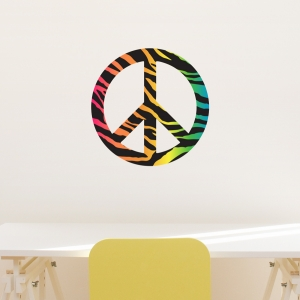 Rainbow Zebra Peace Sign Printed Wall Decal