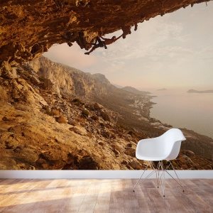 Rock Climber Sunset Wall Mural