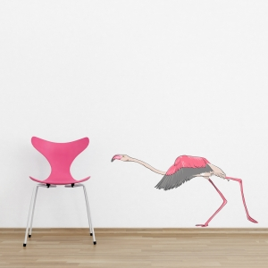 Running Flamingo Printed Wall Decal