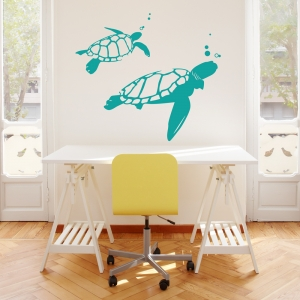 Turquoise Swimming Turtles Wall Art Decal