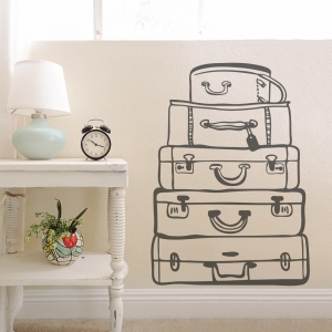 Dark Grey Travel Bags Wall Art Decal