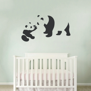 Baby and Momma Panda Art Decal