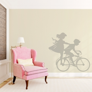 Boy and Girl on Bike Wall decal