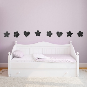 Hearts, Stars and Flowers Chalkboard Wall Decals