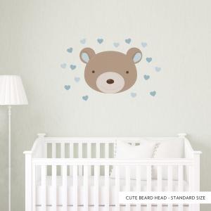 Cute Bear Head Standard Blue Printed Wall Decal