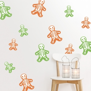 Cute Reusable Skeletons Printed Wall Decal