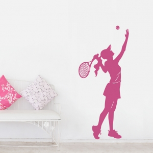 Female Tennis Player PInk Wall Decal