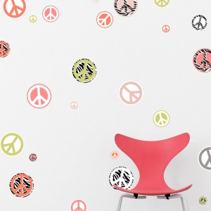 Peace Signs Printed Wall Decal