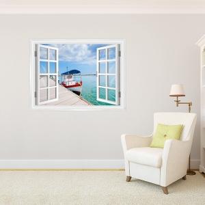 Boat at Dock Window Mural