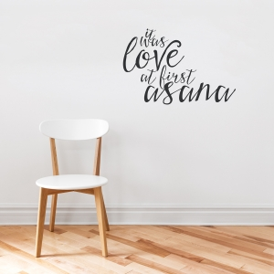 Love at First Asana Black Wall Quote Decal