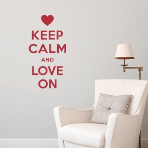 Keep Calm and Love On Red Wall Decal