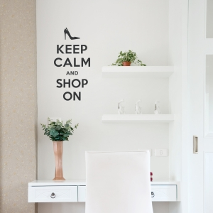 Keep Calm and Shop On Black Wall Decal