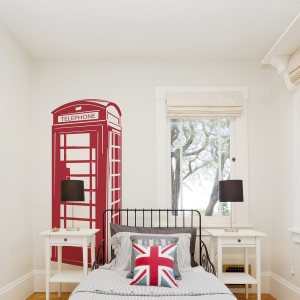 London Phone Booth Dark Red Wall Decal