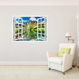 Mountain and Lake Window Mural