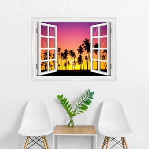 Palm Trees at Sunset Window Mural