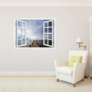 Stormy Pier Window Mural