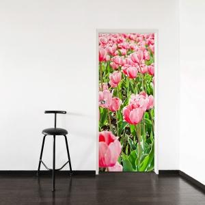 Pink Tulips Door Mural