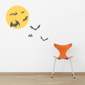 Moon and Bats Printed Wall Decal