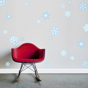 Repositionable Snowflakes Printed Decal