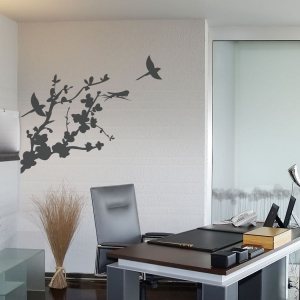 Three Bird Blossom Branch Wall Decal