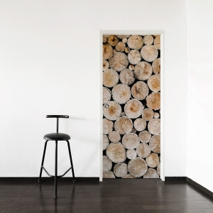 Wood Stack Door Mural