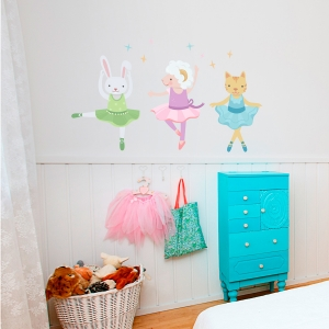 Animal Ballerinas Printed Wall Decal
