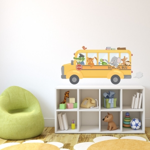 Animal School Bus Printed Wall Decal