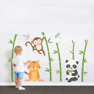 Bamboo Friends Printed Wall Decal