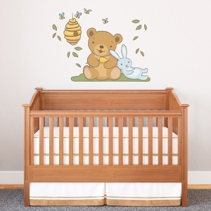 Cute Bunny and Bear Standard Printed Wall Decal